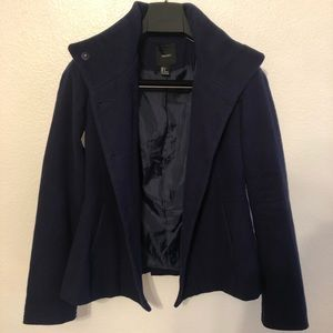 Forever 21 mod collar navy blue pea coat